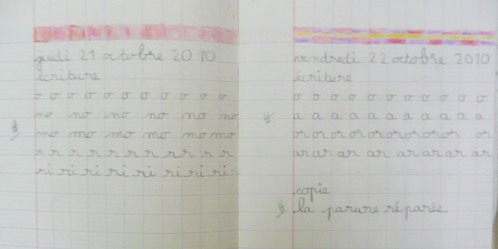 Très Le cp d'Amalthée 2010-2011: exemple d'un cahier du jour du mois d  FO63