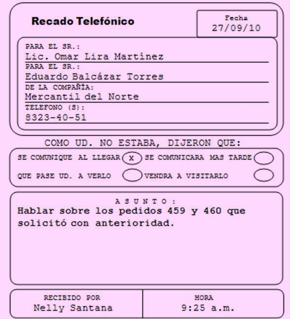 Manual secretarial recado telef nico for Ejemplos de oficinas