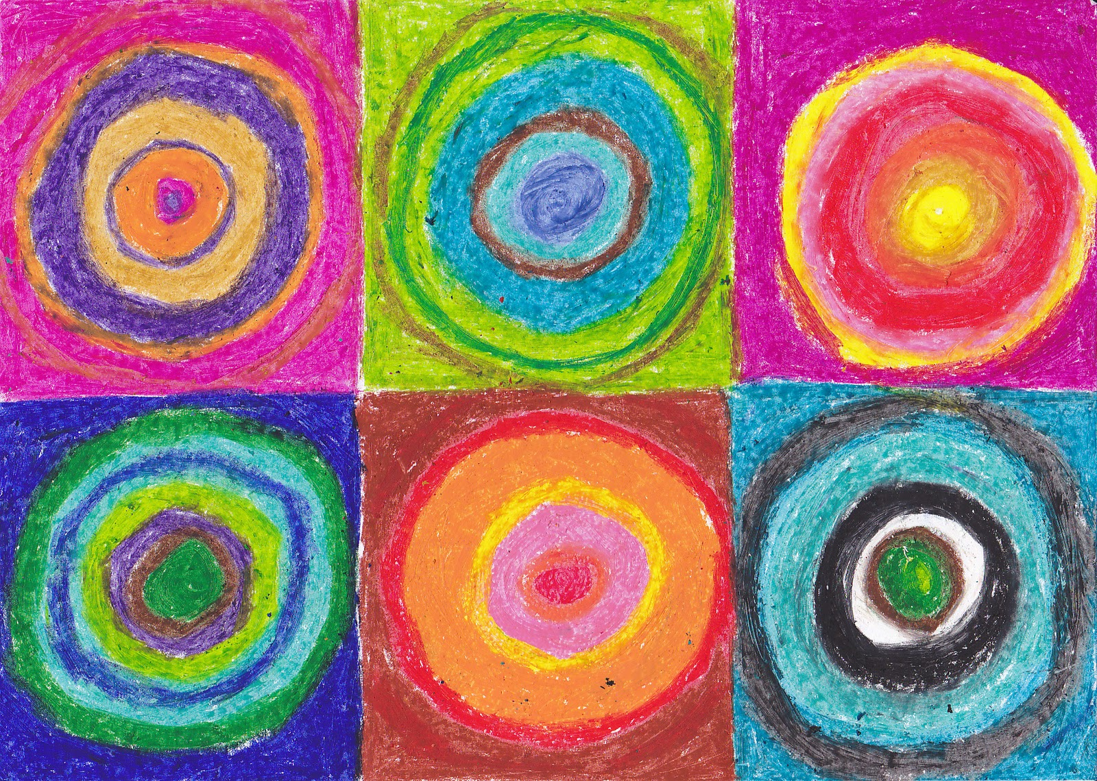 Simple Art Project Ideas Kandinsky Oil Pastel Circles