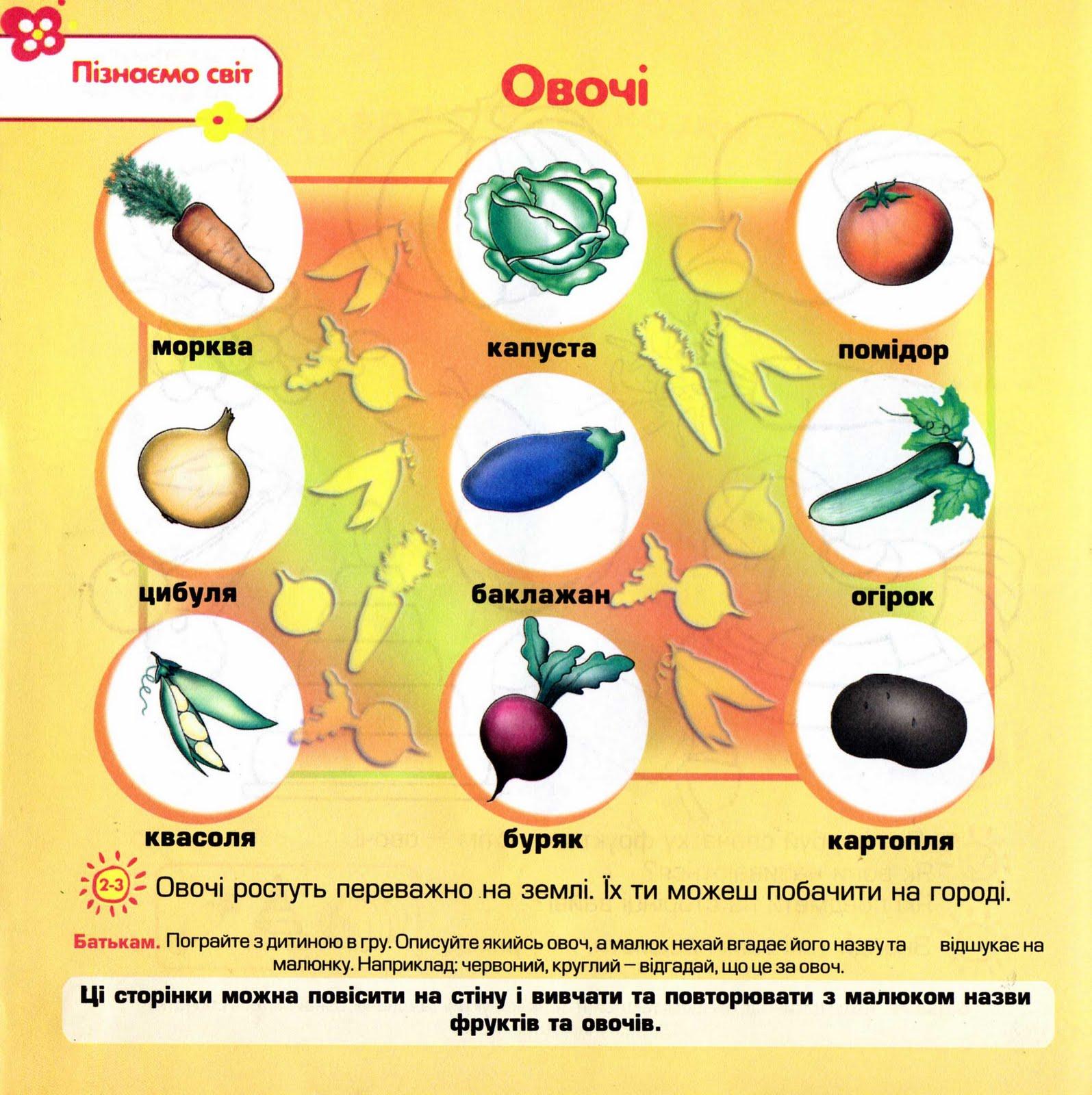 овочі і фрукти картинки для дітей