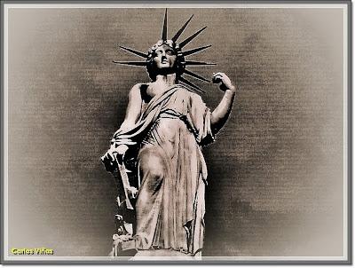 Estatua de la Libertad de 1857, en Madrid, realizada por Ponciano Ponzano (Foto propia)