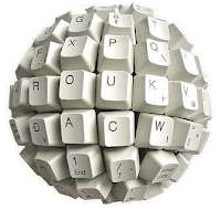 Imagen de teclado de escribir en forma de esfera, alusivo a la Blogosfera