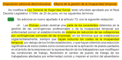 BOE 18/09/10, Ley 35/2010, Disp. Adicional 19-Punto 1