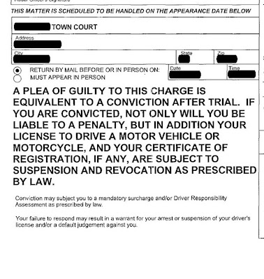 Close up view of a traffic ticket in New York where you have to appear in court