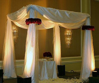 pipes Are a huppah creates wedding ceremony involving the white Chuppah