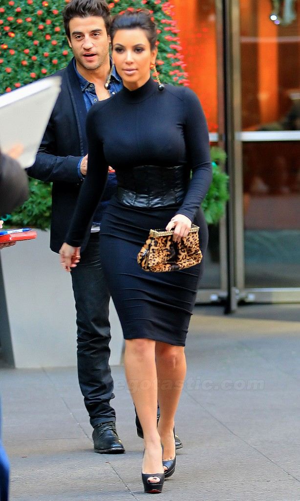 Kim KArdashian in Tight Black Dress, Black Short Skirt