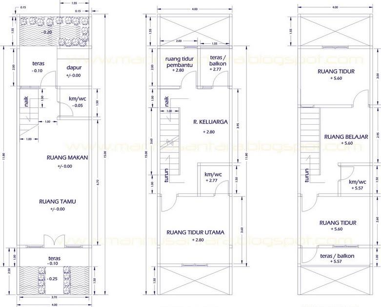 desain rumah tinggal 3 lantai di atas lahan 4 x 15 meter
