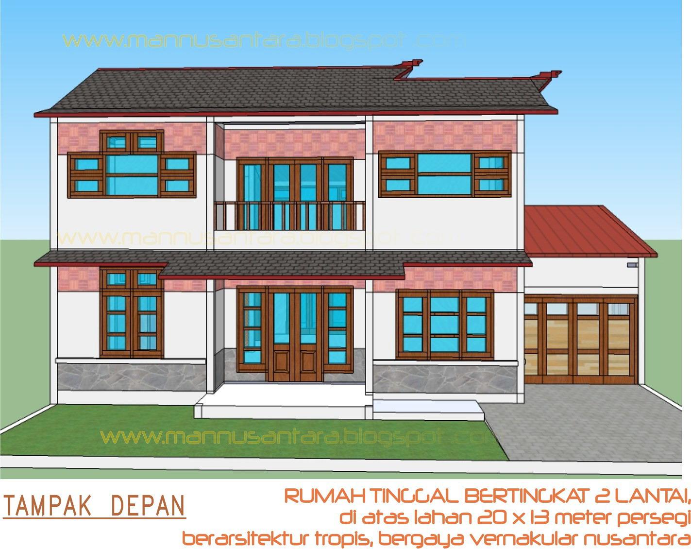Rancangan Rumah Tinggal Bertingkat Dua Lantai, Berarsitektur Tropis