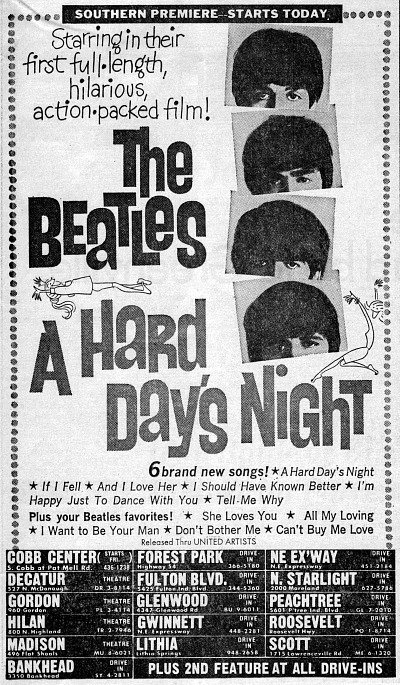 The Beatles: A Hard Day's Night newspaper ad, Atlanta