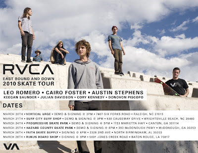 RVCA Eastbound and Down Skate Tour Flyer