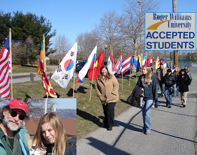 click here to see the Full Size image of our entrance to the flag-draped RWU campus