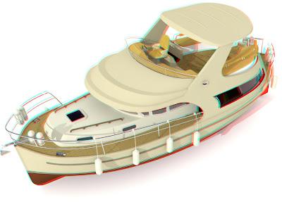 jacht Ramona 37: 3D view anaglif red cyan, obrazy 3D przez okulary