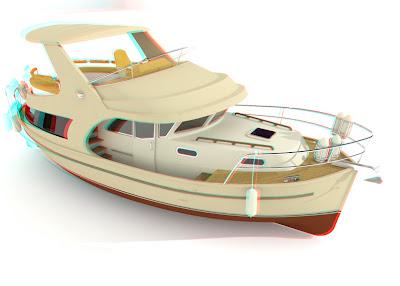 jacht Ramona 37: anaglif 3D red cyan, obrazy 3D