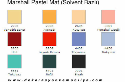 Marshall Pastel Mat Renk Katalogu