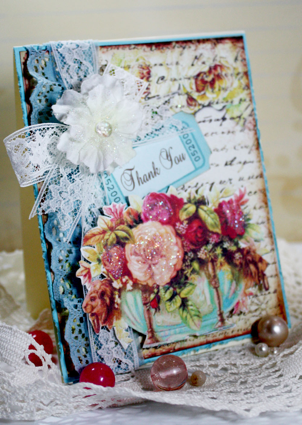 Inspired And Unscripted Vintage Shabby Chic Thank You Card