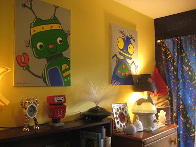 Gf design environmental design space robot themed kids 39 room for Robot room decor