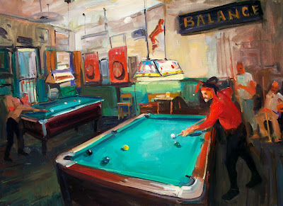James Kerrs Oil Painting Of The Parrot Green Parrot Bar - Pool table painting