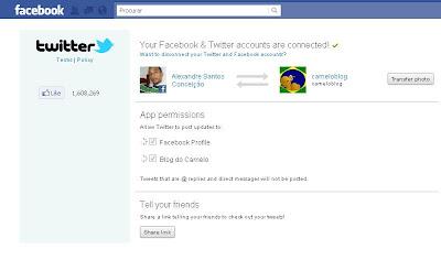 Facebook e twitter juntinhos