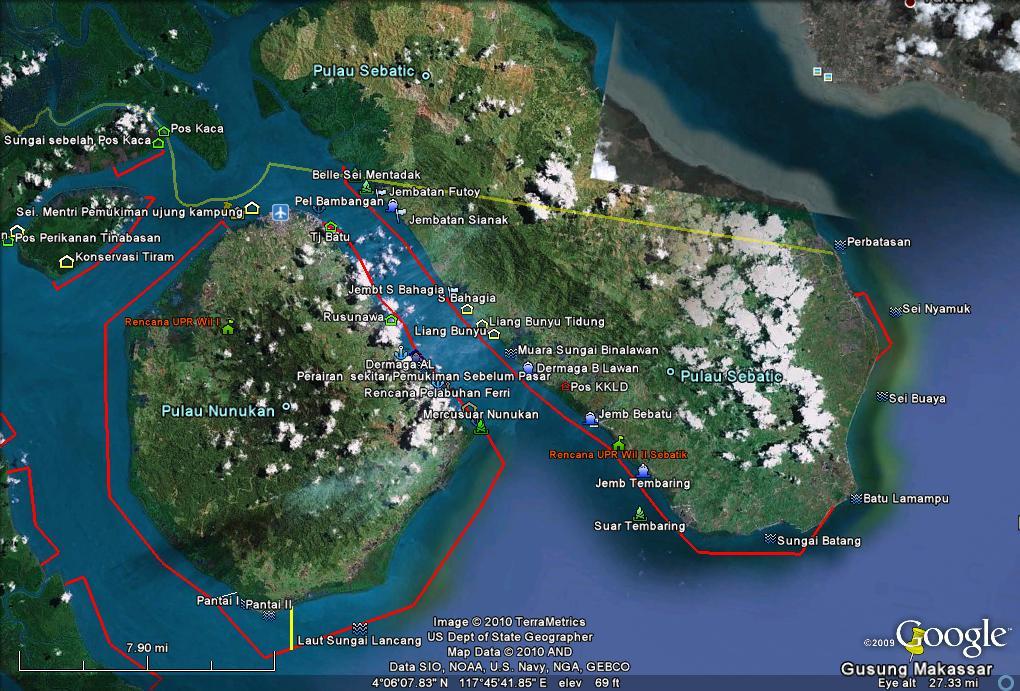 Pulau Nunukan (kiri) dan Pulau Sebatik (kanan) dimana pulau Sebatik terbagi menjadi dua negara yaitu Indonesia dan Malaysia. Sumber gambar: 3.bp.blogspot.com