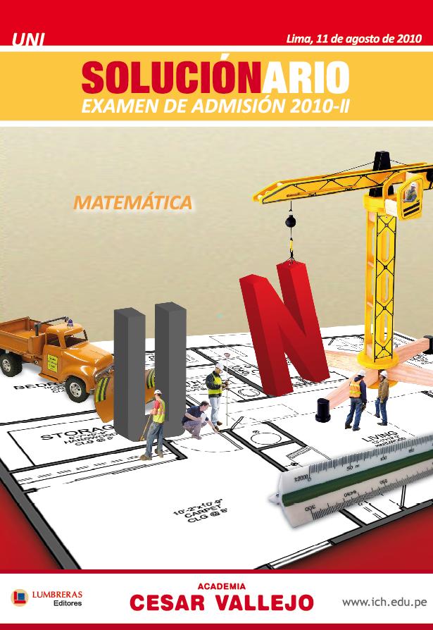 Solucionario del examen de ADMISION de la UNI 2010 -2 MATEMATICA