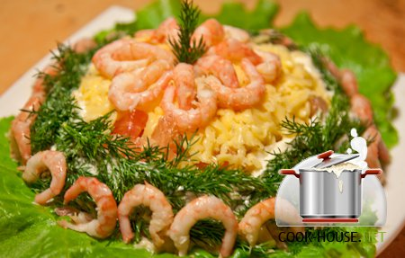 Салат шапка мономаха с морепродуктами рецепт с фото