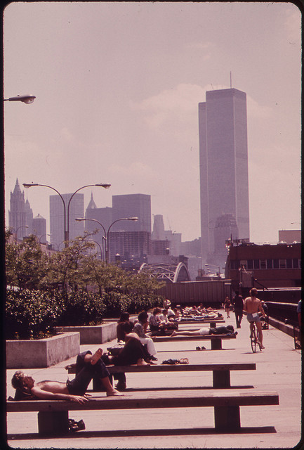 The U.S. National Archives - Morton Street Pier on the Hudson River. World Trade Center Towers in Background 05-1973