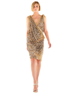 donna karan shimmery gold dress