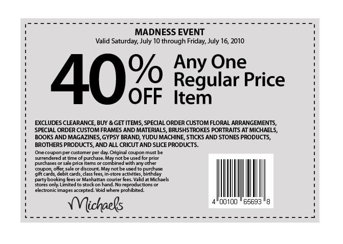 Please check below Michaels Printable Coupons 2011 that are available on