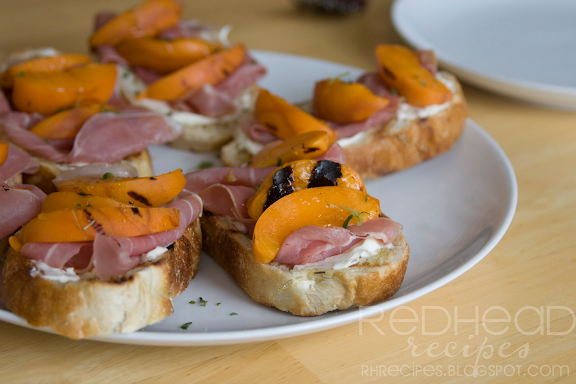 Grilled Apricot Toasts with Prosciutto and Mascarpone Cheese