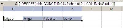 matriz en Excel