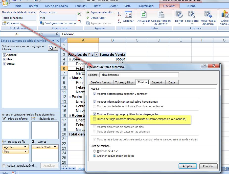 Diseño clásico de tablas dinámicas en Excel 2007 ~ JLD Excel en