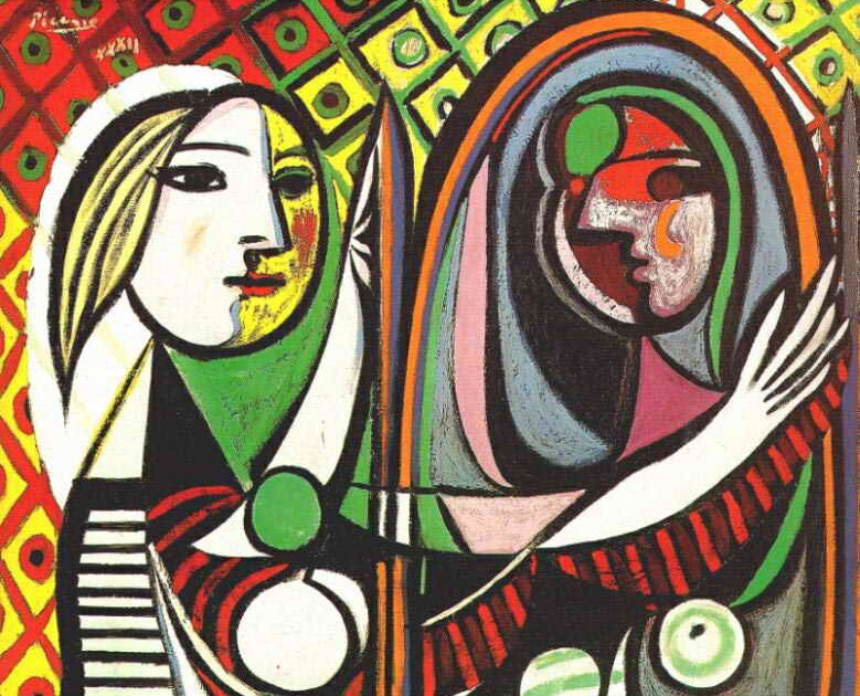 Mirror moema hair design picasso girl before a mirror for Fille au miroir