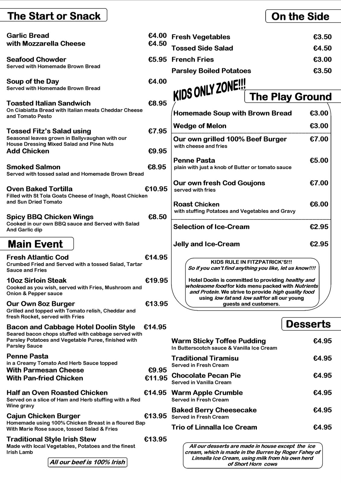 Hotel doolin bar menu for Food bar menu