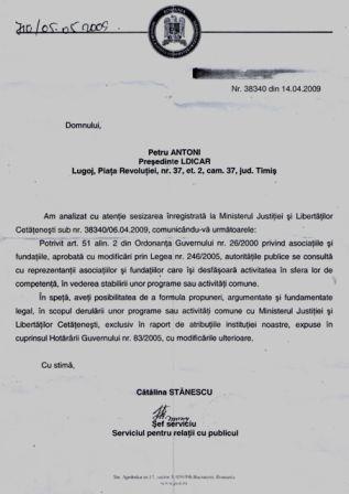 Raspunsul Ministerului Justitiei privind cooperarea cu LDICAR