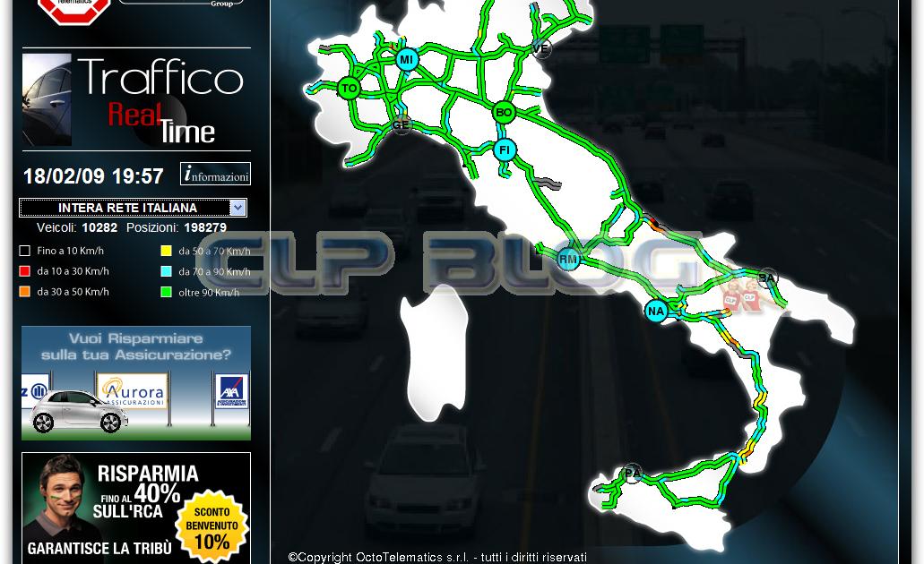 Traffico in tempo reale e webcam delle principale for Traffico autostrade in tempo reale