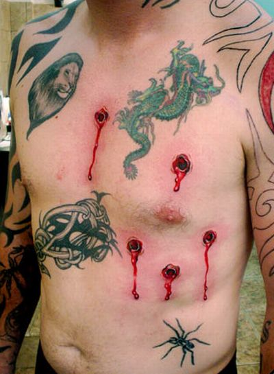 Bullet Holes Tattoo Design | 3D Tattoo Design