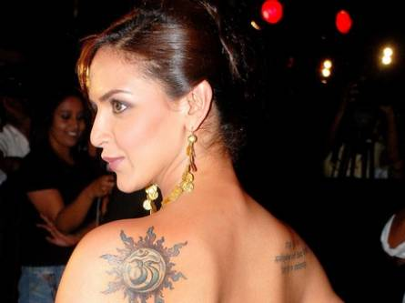 Esha Deol Sports whit Unique Tattoo Design
