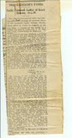 Newspaper clipping with text of George Simon's last letter