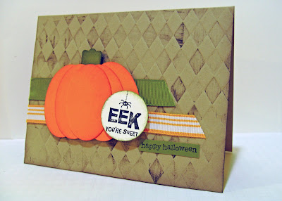Halloween card with embossed background and paper punch pumpkin