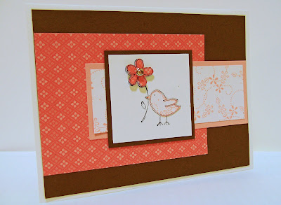 Rubber stamping bird with flower card in pink and soft suede