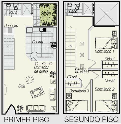 Planos de triplex planos de minidepartamento de 3 pisos en for Distribucion de apartamentos de 40 metros