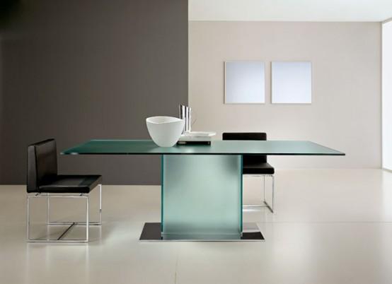 Mesas de comedor de vidrio con bases muy originales - Mesas de comedor originales ...