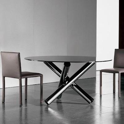 Mesas de comedor de vidrio con bases muy originales - Mesas de comedor modernas de cristal ...