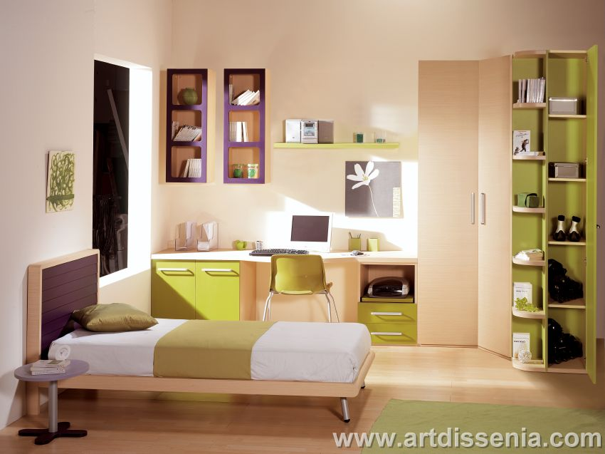 Dormitorio juvenil funcional para pequenos espacios de - Habitaciones juveniles para chico ...