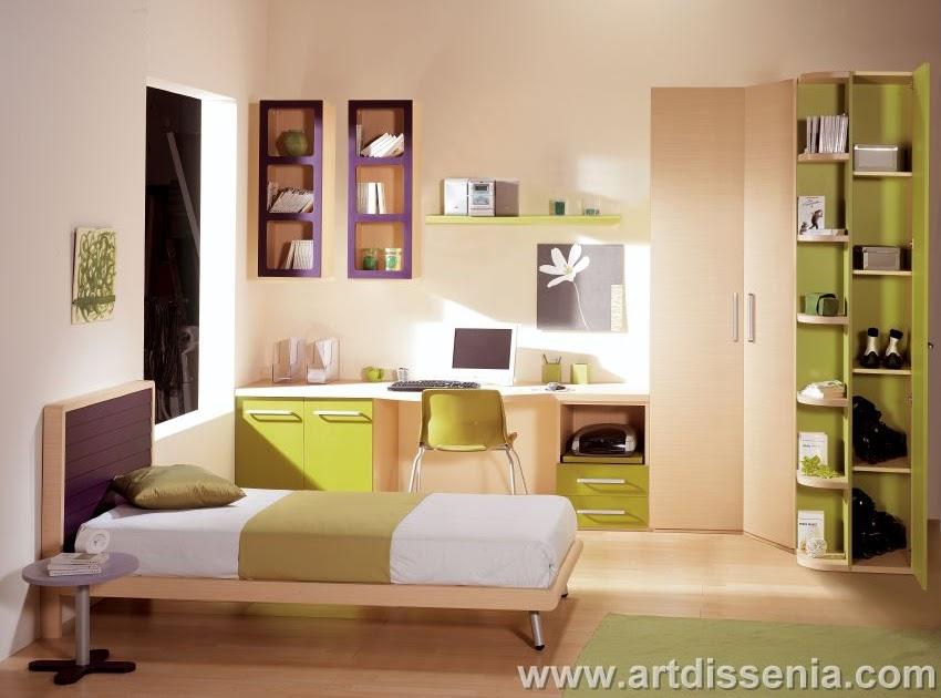 Dormitorio juvenil funcional para pequenos espacios de madera y toques en verde jade mervin - Dormitorios juveniles espacios pequenos ...