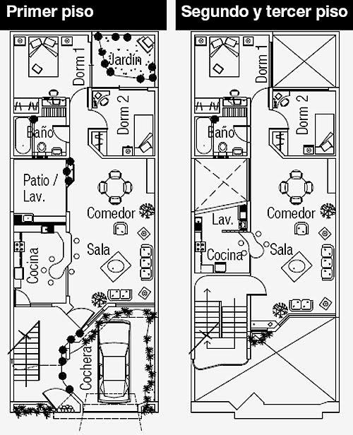 Planos de departamentos 3 viviendas en 126m2 mervin diecast for Planos de casas 8x15