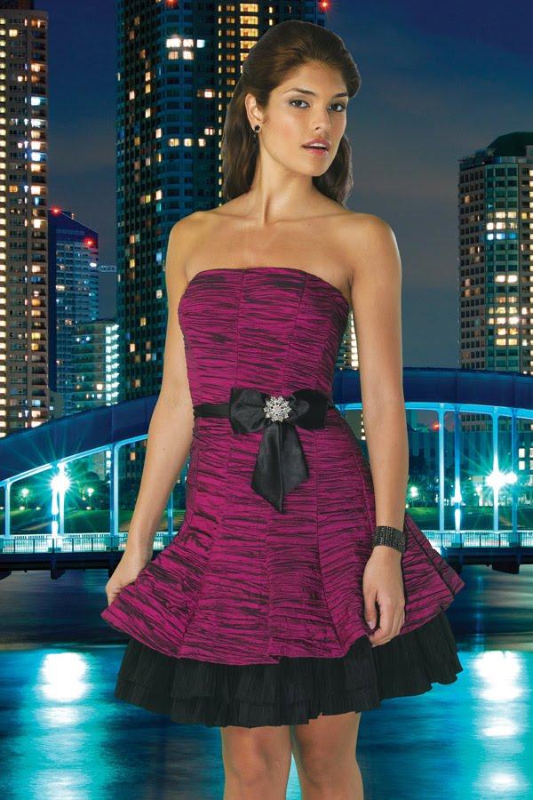 Modelos de vestidos para graduacion en color vino