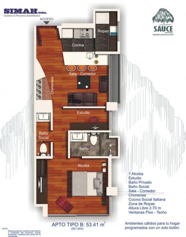 Plano de departamento de un dormitorio y 53 metros cuadrados for Departamentos alargados
