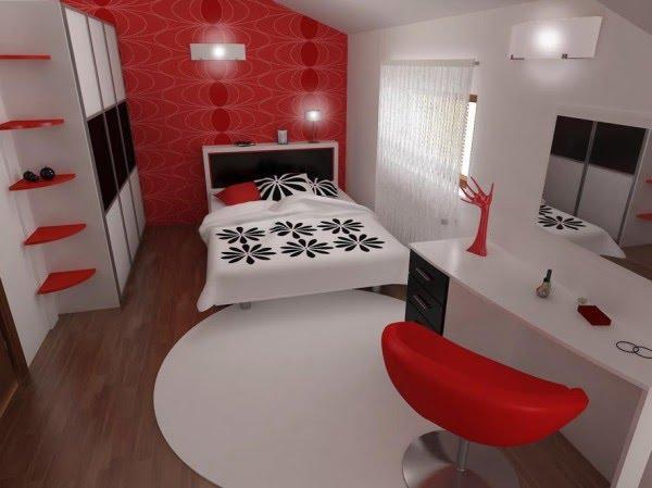 Decoracion Diseño: Dormitorio en 3D de colores rojo y blanco con sala