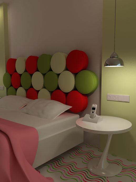Dormitorio moderno y elegante en colores verde y rojo ...